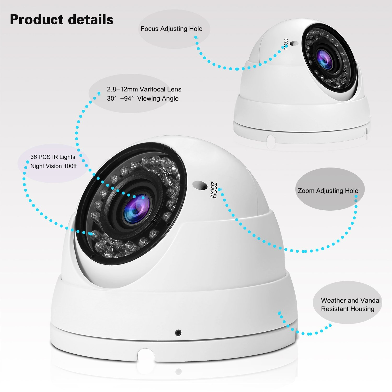 1080P Security Camera 2.8mm-12mm Varifocal Lens HD TVI CVI AHD CVBS White 2 PKG