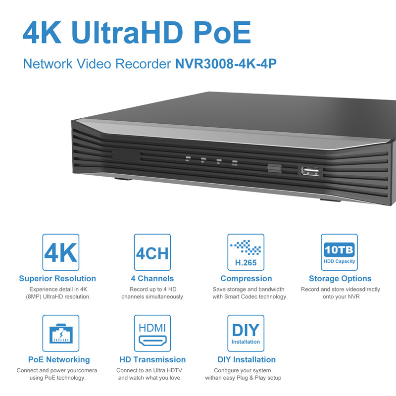 5MP 4CH 4K PoE Security Camera System, 4 Channel 8MP HD H