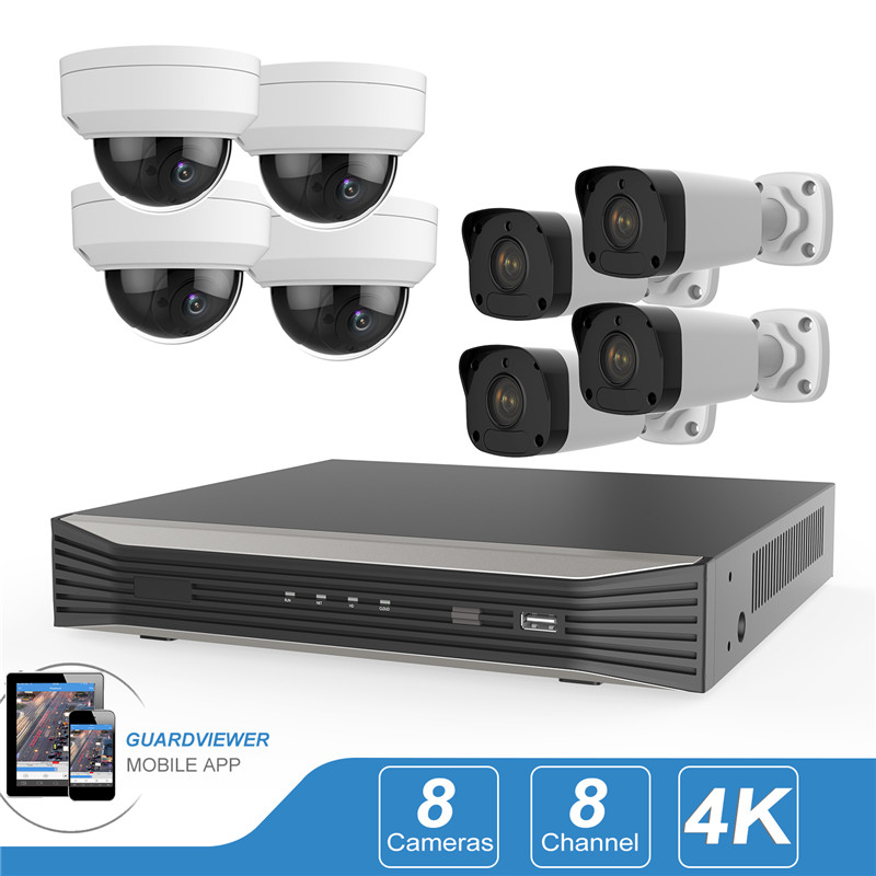 5MP 4CH 4K PoE Security Camera System, 4 Channel 8MP HD H 265 Onvif